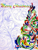 Set of stylized Christmas card — 图库矢量图片