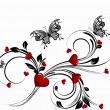 Saint valentines day heart floral abstract background - Stok Vektr