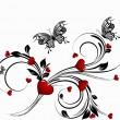 San Valentín corazón floral Abstact — Vector de stock