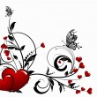 Saint valentines day heart floral abstract background with butte - Stok Vektr