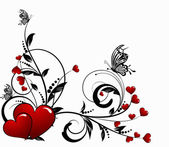 Saint valentines day heart floral abstract background with butte — 图库矢量图片