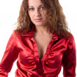 Young Adult Woman In Red Silk. Studio Shoot Over White Backgroun — Stock Photo