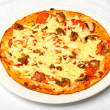 Big Nice Tasty Pizza On White Plate — Foto Stock
