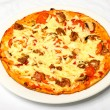 Big Nice Tasty Pizza On White Plate — Stock Photo