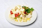 Vegetable Salad With Cheese On The White Table — Stock Photo