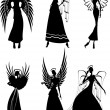 Royalty-Free Stock Vector Image: Set Of Vector Silhouette Beautiful Fairy Flying Angels
