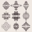 Set Of Nine Ornate Banner Text Quad - Image vectorielle