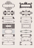 Set Of Vector Frames Ornament Elements In Antique Style. — Stock Vector