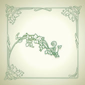 Vintage Floral Decorate Green Vector Frame — Stock Vector