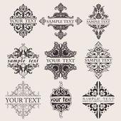 Serie di nove quad di testo banner ornato — Vettoriale Stock
