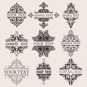Set Of Nine Ornate Banner Text Quad — Stockvektor