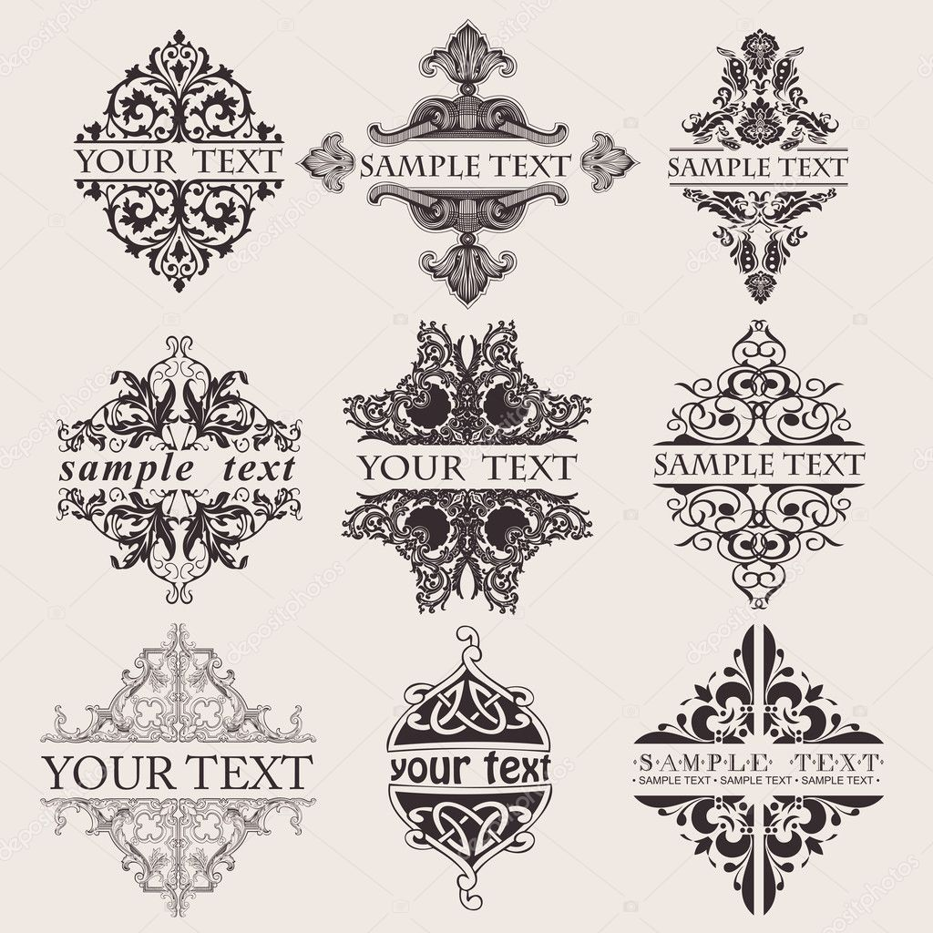 Set Of Nine Ornate Banner Text Quad — Stock Vector #4876193