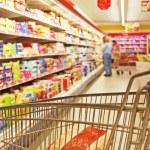 Supermarket shelves — Stock Photo