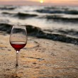 Stock Photo: Wine glass in the sea