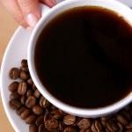 Beautiful woman drinking black coffee — Stock Photo