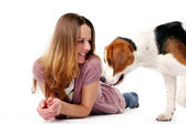 Young and beautiful girl with dog — Stock Photo