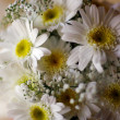 Wedding bucket of white flowers - Stock Photo