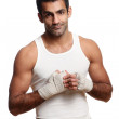A attractive young boxer on white — Stock Photo