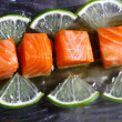 Allsorts from a fresh salmon and a tuna under sauces — Stockfoto