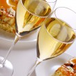 Dessert fruit cake with champagne - Stock Photo