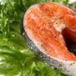 Fresh salmon garnish with salad - Stock Photo