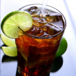 Fresh ice tea glass with lime — Stock Photo