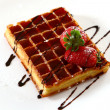 Waffles with strawberry — Stock Photo
