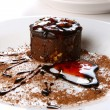 Dessert cake with chocolate and jam — Stok fotoğraf
