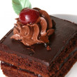 Sweet chocolate fruitcake with cherry — 图库照片