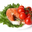 Stock Photo: Fresh salmon garnish with salad