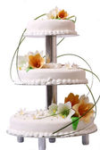 Wedding cake with color flores — Stock Photo