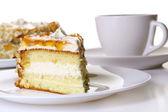 Dessert cheese cake with black coffee — Stock Photo
