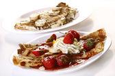 Dessert plate witn pancakes and banan — Stock Photo