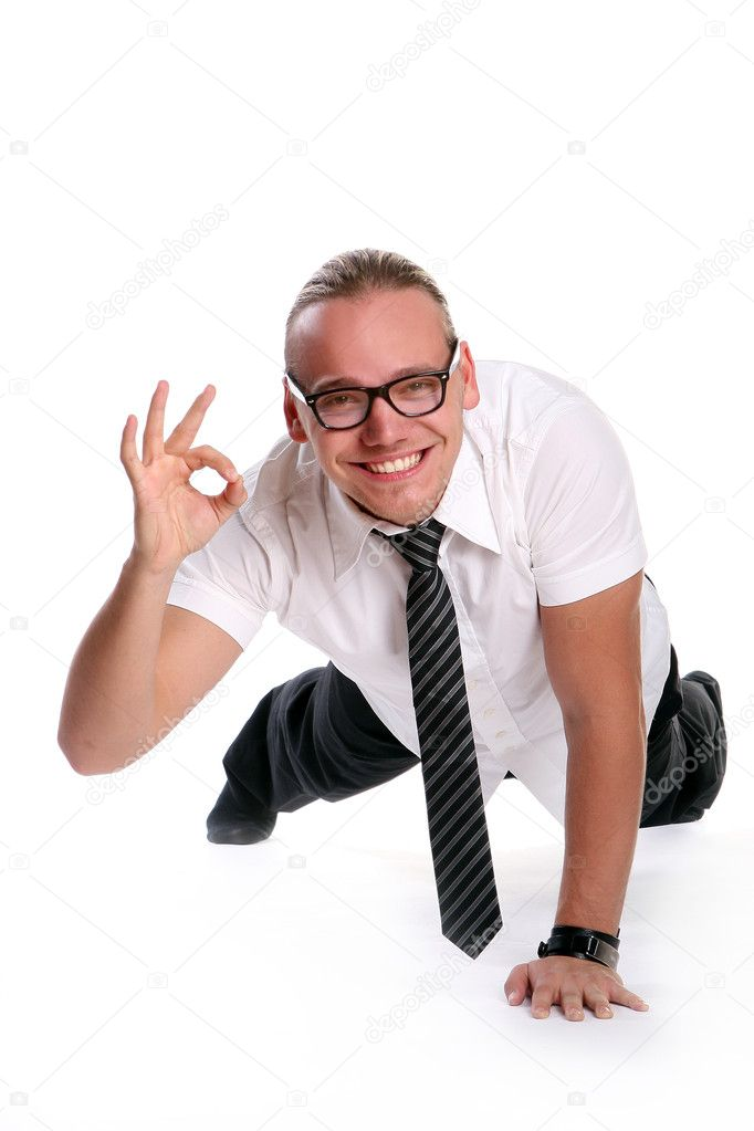 Happy young man on white — Stock Photo #4195446