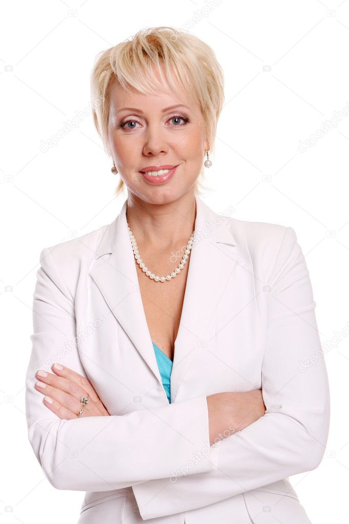 Beautiful attractive woman on white  Stock Photo #4195690