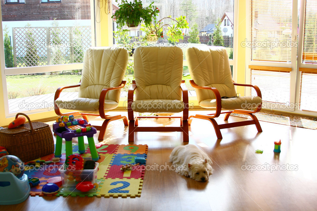 Home interior in the summer house — Stock Photo #4196110