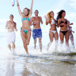 Happy teenagers playing at the sea — Stock Photo #4300680