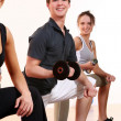 Group  doing fitness exercises - Foto Stock