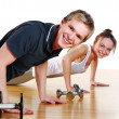 Group doing fitness exercises — Stock Photo #4300777