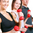 Group doing fitness exercises — Stock Photo #4300778