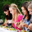 Group of beautiful girls drinking wine — Stock Photo #4300795