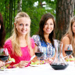 Group of beautiful girls drinking wine - Stock fotografie
