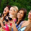 Group of beautiful girls drinking wine — Stok Fotoğraf #4300810