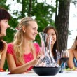 Group of beautiful girls drinking wine — Stock Photo #4300812