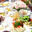 Fresh and tasty food on table — ストック写真