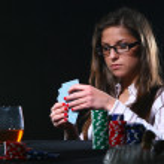 Beautiful woman who playing poker — Stock Photo #4301418