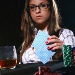 Beautiful woman who playing poker — Stock Photo #4301422