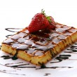 Stock Photo: Fresh sweet chocolate waffles with strawberry