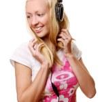 piękna kobieta młody i szczęśliwy słuchania muzyki — Zdjęcie stockowe #4302319