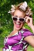Beautiful young woman with sunglasses — Foto de Stock